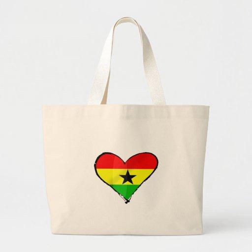 I love Ghana Ghanaian flag heart gifts Canvas Bags