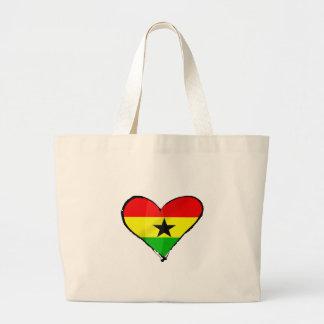 I love Ghana Ghanaian flag heart gifts Large Tote Bag