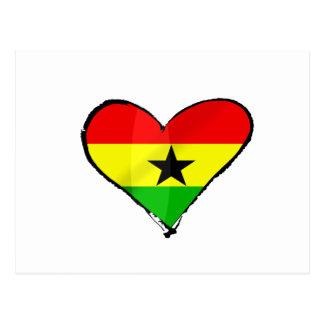 I love Ghana Ghanaian flag heart gifts Postcard