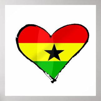 I love Ghana Ghanaian flag heart gifts Poster