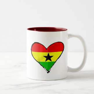 I love Ghana Ghanaian flag heart gifts Two-Tone Coffee Mug