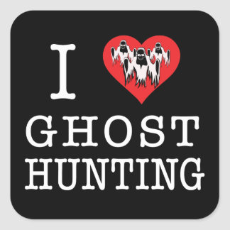 I Love Ghost Hunting Square Stickers