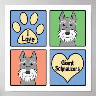 I Love Giant Schnauzers Posters