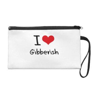 I Love Gibberish Wristlet Clutch