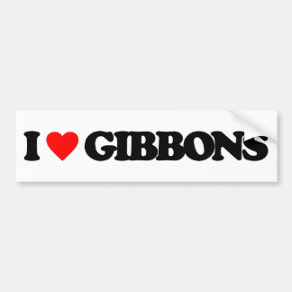 I LOVE GIBBONS BUMPER STICKERS