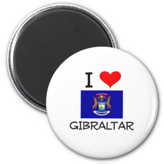 I Love Gibraltar Michigan 2 Inch Round Magnet