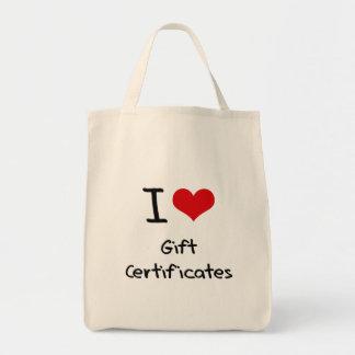 I Love Gift Certificates Canvas Bag