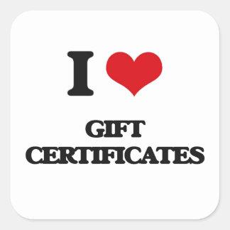 I love Gift Certificates Square Sticker