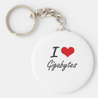 I love Gigabytes Basic Round Button Keychain
