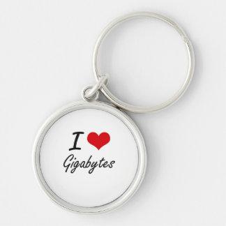 I love Gigabytes Silver-Colored Round Keychain