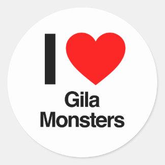 i love gila monsters round sticker