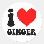 i love ginger classic round sticker