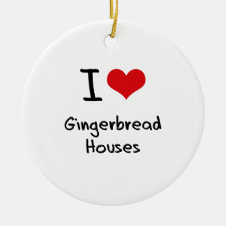 I Love Gingerbread Houses Double-Sided Ceramic Round Christmas Ornament