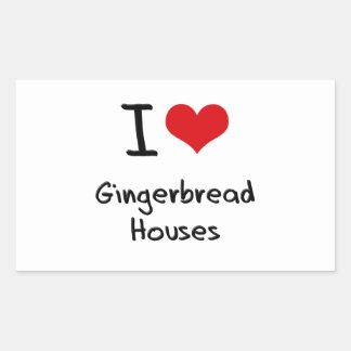I Love Gingerbread Houses Rectangular Sticker
