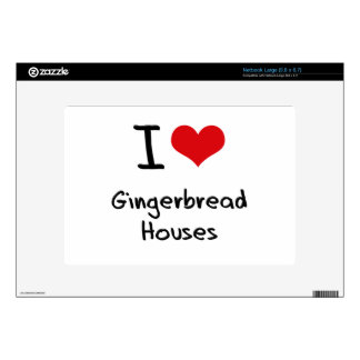 I Love Gingerbread Houses Large Netbook Decals