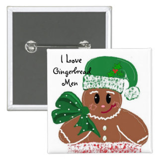 I Love Gingerbread Men Pinback Buttons