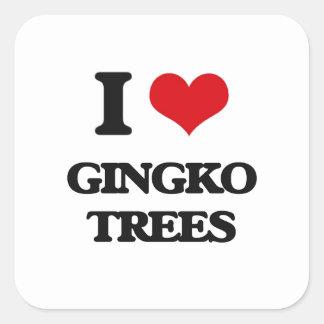 I love Gingko Trees Square Sticker