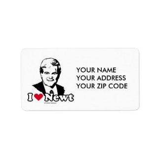 I Love Gingrich (2) Address Label