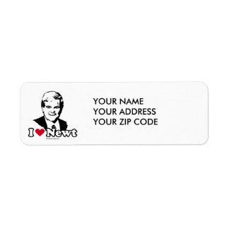 I Love Gingrich (2) Return Address Label