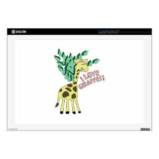 """I Love Giraffes! 17"""" Laptop Decal"""