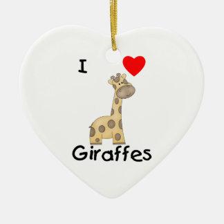 I Love Giraffes (2) Ceramic Ornament