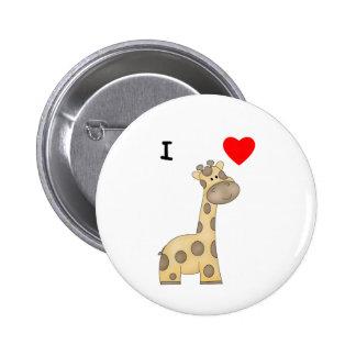 I Love Giraffes (3) Button