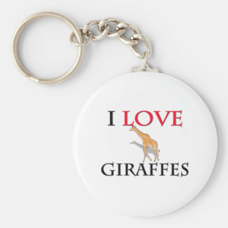 I Love Giraffes Basic Round Button Keychain