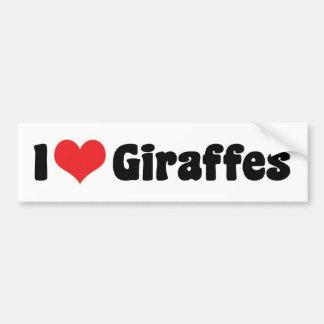 I Love Giraffes Car Bumper Sticker