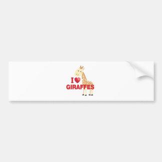 i love giraffes bumper sticker