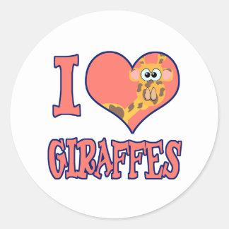 I Love giraffes Classic Round Sticker