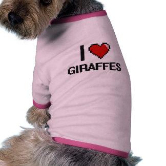 I love Giraffes Digital Design Doggie Tee Shirt