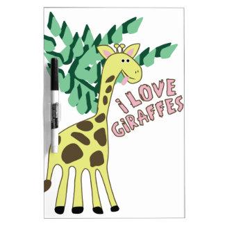 I Love Giraffes! Dry-Erase Board