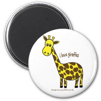 I LOVE GIRAFFES - LOVE TO BE ME REFRIGERATOR MAGNET