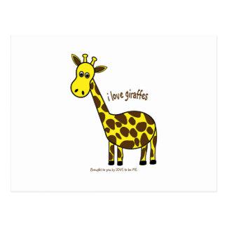 I LOVE GIRAFFES - LOVE TO BE ME POSTCARDS