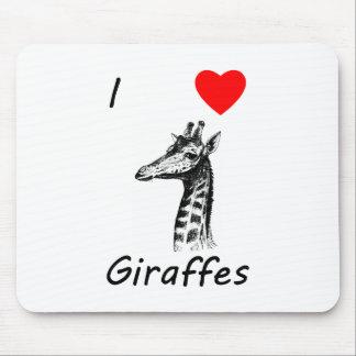 I Love Giraffes Mouse Pad