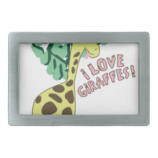 I Love Giraffes! Rectangular Belt Buckle