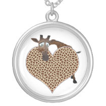 I Love Giraffes Silver Plated Necklace