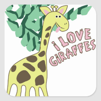 I Love Giraffes! Square Sticker