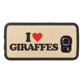 I LOVE GIRAFFES WOOD PHONE CASE