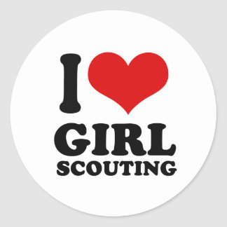 I Love girl scouting Round Stickers