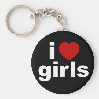 I Love Girls Blck Keychain