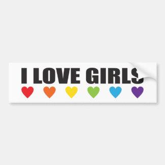 I Love Girls LGBT Pride Rainbow Bumper Sticker