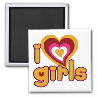 I Love Girls Retro Magnet