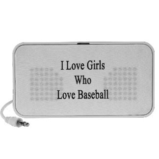 I Love Girls Who Love Baseball PC Speakers