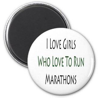 I Love Girls Who Love To Run Marathons 2 Inch Round Magnet