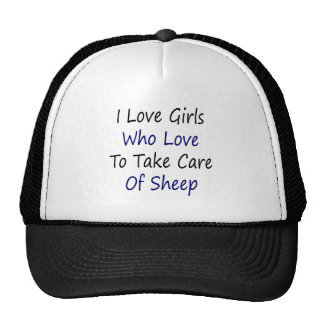 I Love Girls Who Love To Take Care Of Sheep Mesh Hat