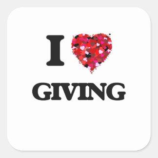 I Love Giving Square Sticker