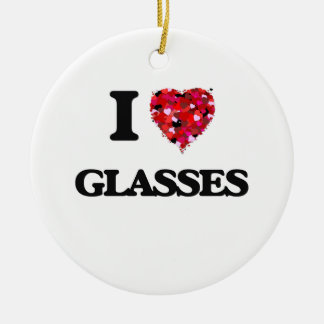 I Love Glasses Double-Sided Ceramic Round Christmas Ornament