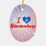 I Love Glastonbury, Connecticut Christmas Ornament