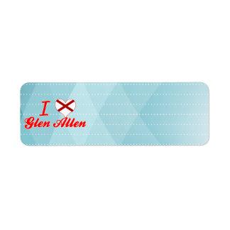 I Love Glen Allen, Alabama Custom Return Address Labels